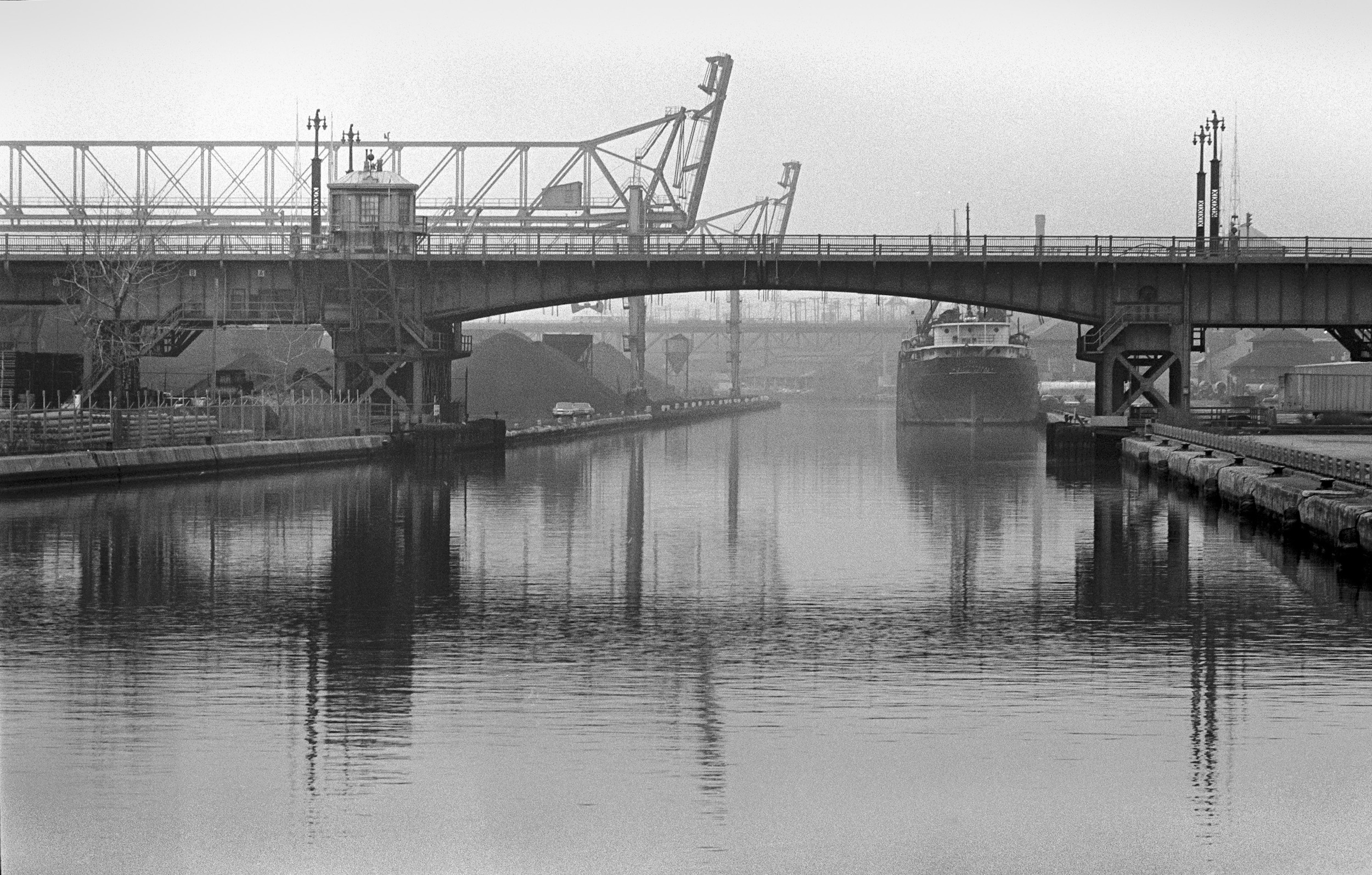 A bridge over the Menomonee River, taken in 1970.