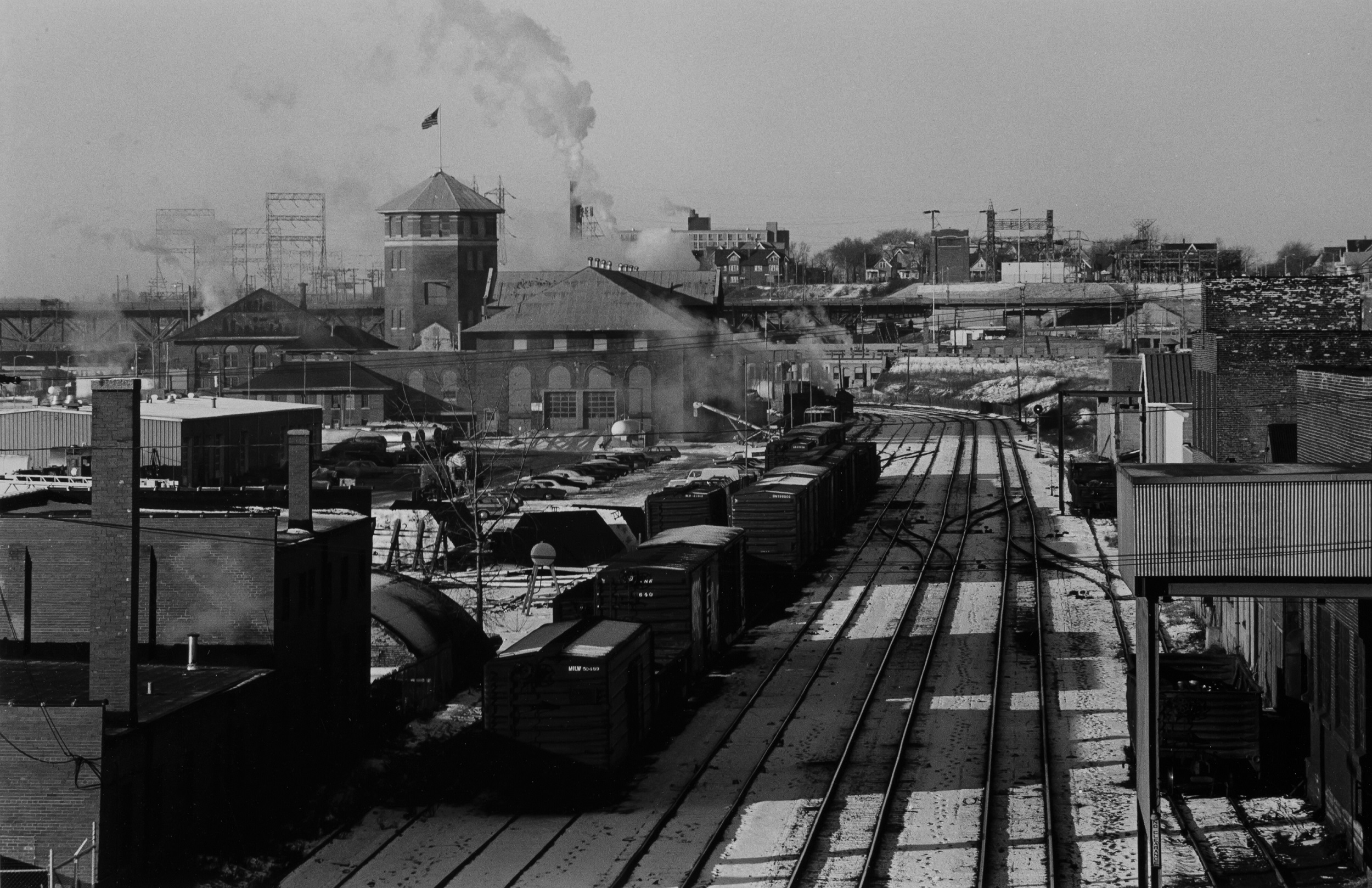 A 1972 photograph of the Menomonee Valley looking west from the 16th Street Viaduct.