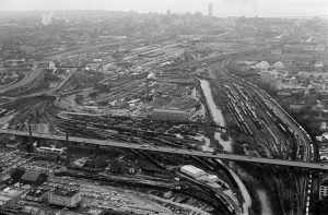 This aerial view of the Menomonee River valley looking east from 37th Street taken in 1980 illustrates the expanse and importance of railroads as a form of shipping transportation.
