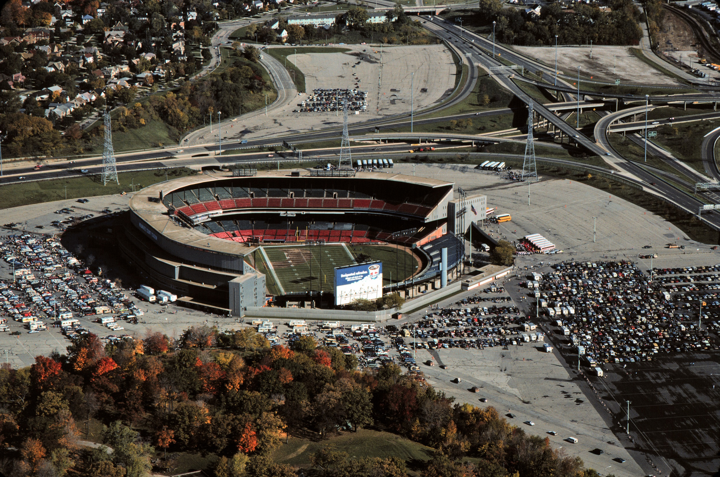 Aerial view of Milwaukee County Stadium, looking north, taken in 1985.