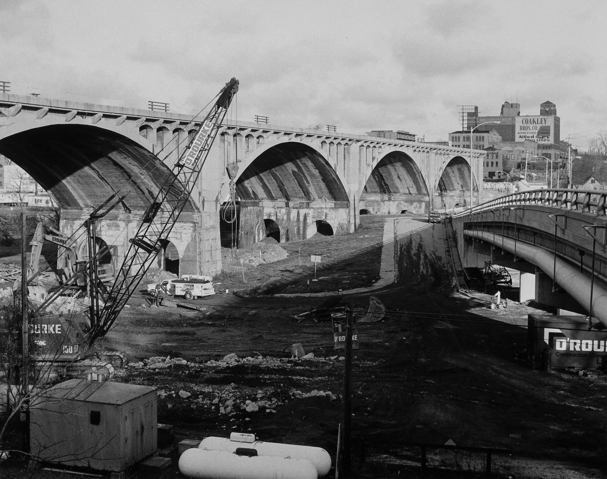 The Wisconsin Avenue viaduct as it was reconstructed and its surroundings torn down.