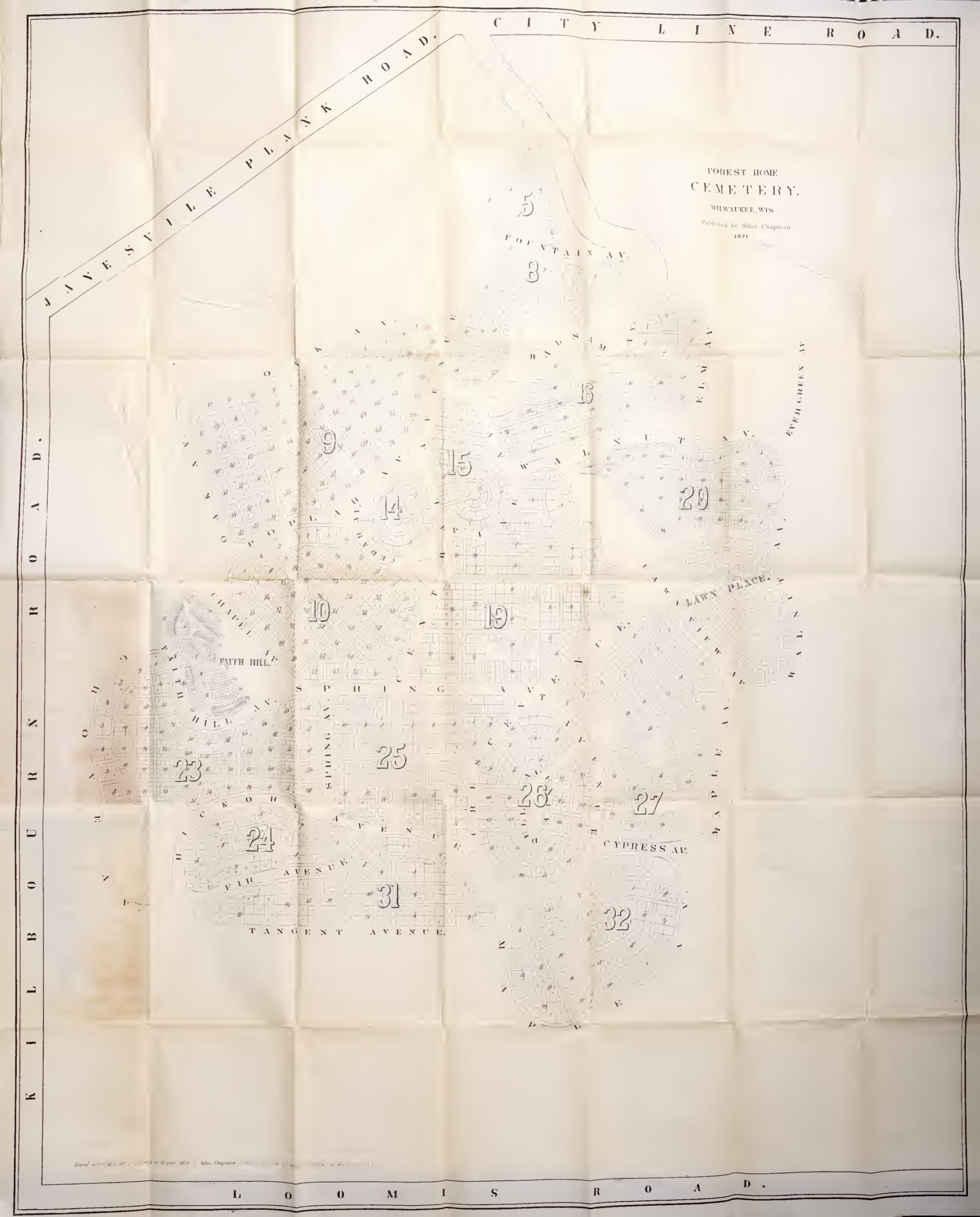 This 1871 plan of Forest Home Cemetery shows it as small, separate city whose curvilinear design provided a counterpoint to the urban grid.