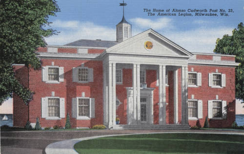 20th century postcard featuring the Alonzo Cudworth Post No. 23 of the American Legion.