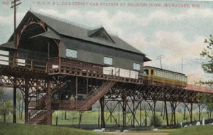 Early twentieth-century postcard showing the TMER&L Station at Milwaukee's Soldiers Home.