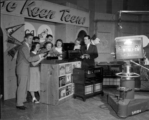 "1949 photograph featuring of Milwaukee high school students filming the WTJM-TV program ""The Keen Teens,"" which aired on Saturday afternoons."