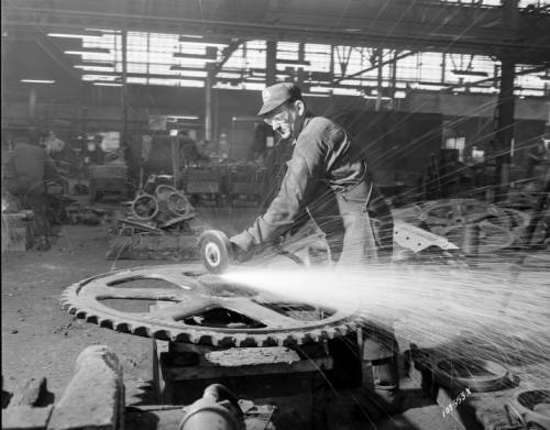 <table class=&quot;lightbox&quot;><tr><td colspan=2 class=&quot;lightbox-title&quot;>Milwaukee Steel Worker</td></tr><tr><td colspan=2 class=&quot;lightbox-caption&quot;>Photograph of a man grinding a large steel part at Pelton Steel Casting Company in 1956. </td></tr><tr><td colspan=2 class=&quot;lightbox-spacer&quot;></td></tr><tr class=&quot;lightbox-detail&quot;><td class=&quot;cell-title&quot;>Source: </td><td class=&quot;cell-value&quot;>From the James Blair Murdoch Photographs. Archives, University of Wisconsin-Milwaukee Libraries. <br /><a href=&quot;http://collections.lib.uwm.edu/digital/collection/jbmurdoch/id/2390/rec/44&quot; target=&quot;_blank&quot;>University of Wisconsin-Milwaukee Libraries</a></td></tr><tr class=&quot;filler-row&quot;><td colspan=2>&nbsp;</td></tr></table>