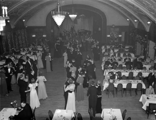 Overview of the 1942 Chrysanthemum Ball held at the Wisconsin Club.