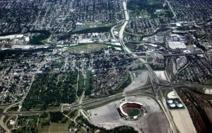 This 1980 photograph of Milwaukee County Stadium shows an east-west segment of Interstate 94 and a north-south segment of the Stadium Freeway.