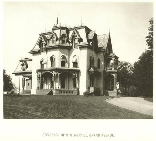 Sherburn S. Merrill's mansion,  front lawn, and driveway, set on 15 acres in Merrill Park.