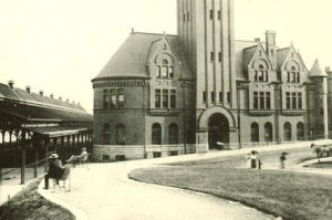 An 1895 photograph of the Chicago & North Western Depot, whose demolition historic preservation activists failed to secure.