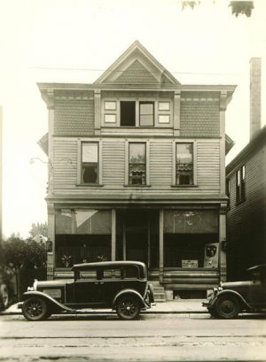 Photograph taken in 1934 of the John Necka Tavern located on Greenfield Avenue. The building was constructed in 1889.