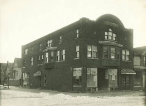 Photograph of the Badura Family Tavern built in 1912. Located on Lincoln Avenue, the tavern also had a popular bowling alley in the basement.