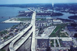 This 1978 photograph taken by Harold Mayer from the US Bank Center shows the Hoan Bridge, Jones Island, and the Jones Island Wastewater Treatment Plant.