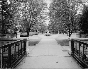 A view of the Lake Park lion bridge looking south. This park was designed by the famed landscape architect Frederick Law Olmstead.