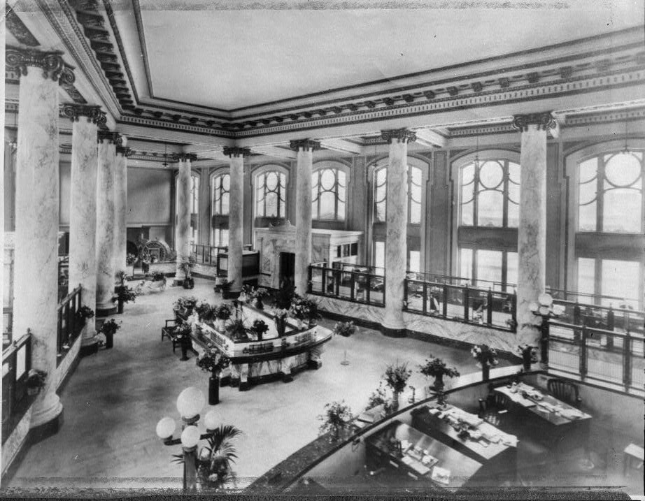 Interior image of the Second Ward Savings Bank, originally constructed between 1911 and 1913.
