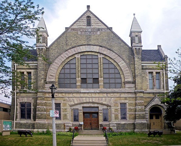 Photograph of the Grand Avenue Congregational Church. After serving the Congregationalist community for 150 years, the church closed in 1997 and is now the headquarters of Milwaukee Irish Cultural Center.