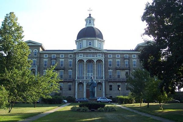 Photograph of Henni Hall, the main building of St. Francis de Sales Seminary, dedicated in 1856.