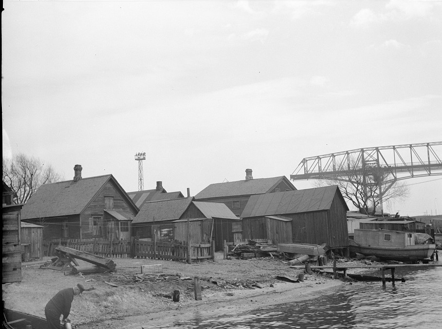 This 1936 photograph shows a group of fishing shacks that were once the heart of the Jones Island residential community.