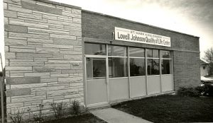 1983 photograph of the Lovell Johnson Quality of Life Center on W. Atkinson Avenue, operated by the St. Mark A.M.E. Church. It offers a wide variety of social services to the community.