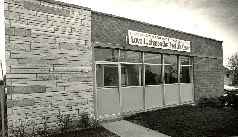 <table class=&quot;lightbox&quot;><tr><td colspan=2 class=&quot;lightbox-title&quot;>St. Mark A.M.E. Lovell Johnson Quality of Life Center</td></tr><tr><td colspan=2 class=&quot;lightbox-caption&quot;>1983 photograph of the Lovell Johnson Quality of Life Center on W. Atkinson Avenue, operated by the St. Mark A.M.E. Church. It offers a wide variety of social services to the community. </td></tr><tr><td colspan=2 class=&quot;lightbox-spacer&quot;></td></tr><tr class=&quot;lightbox-detail&quot;><td class=&quot;cell-title&quot;>Source: </td><td class=&quot;cell-value&quot;>From the Historic Photo Archive of the Milwaukee Public Library. Reprinted with permission. <br /><a href=&quot;http://content.mpl.org/cdm/singleitem/collection/HstoricPho/id/5598/rec/1&quot; target=&quot;_blank&quot;>Milwaukee Public Library</a></td></tr><tr class=&quot;filler-row&quot;><td colspan=2>&nbsp;</td></tr></table>