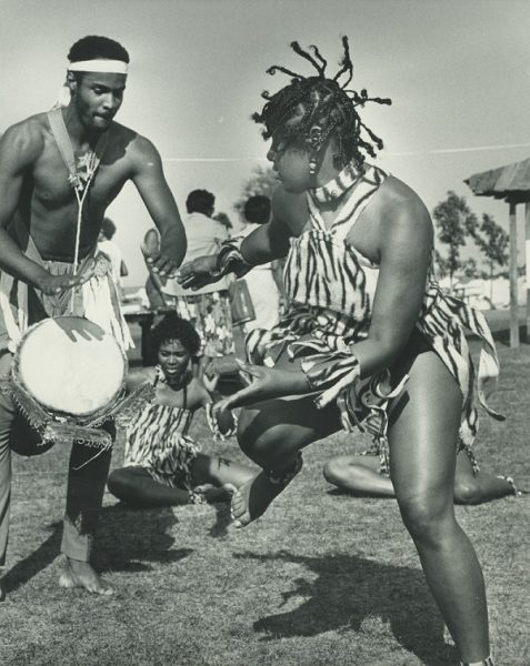 A drummer and dancer perform at the first African World Festival held in 1983 on the Summerfest Grounds.