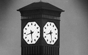 The Allen-Bradley clock, also known as Milwaukee's Polish Moon, glows in this photograph from the summer of 1963.