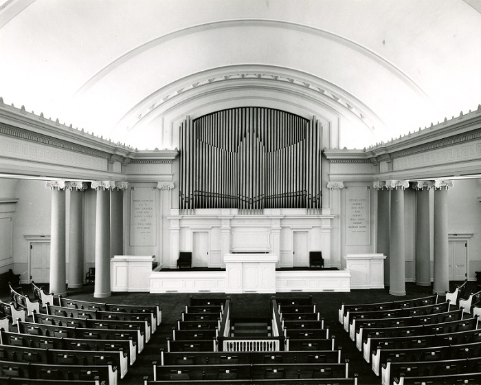 An interior photograph of the former First Church of Christ, Scientist located on Prospect Avenue. Built in 1907, the building is now used as a venue for weddings and other events.