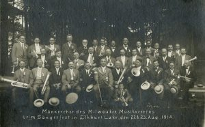 August 1914 photograph of the men's chorus of the Milwaukee Musikverein at a song festival in Elkhart Lake. With the outbreak of World War I in August of 1914, the German-American community would soon face discrimination and be forced to prove their loyalty once the U.S. entered the war in April 1917.