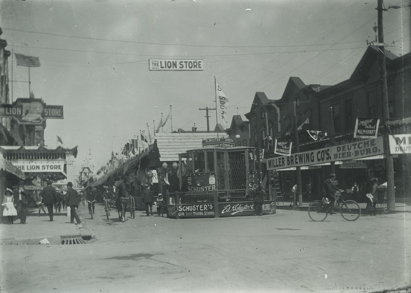<table class=&quot;lightbox&quot;><tr><td colspan=2 class=&quot;lightbox-title&quot;>Inside the Milwaukee Jahrmarkt</td></tr><tr><td colspan=2 class=&quot;lightbox-caption&quot;>Early 20th century photograph featuring some of the shops and stands inside the Jahrmarkt, highlighting the connections between German culture and business in Milwaukee. </td></tr><tr><td colspan=2 class=&quot;lightbox-spacer&quot;></td></tr><tr class=&quot;lightbox-detail&quot;><td class=&quot;cell-title&quot;>Source: </td><td class=&quot;cell-value&quot;>From the Historic Photo Archive of the Milwaukee Public Library. Reprinted with permission. <br /><a href=&quot;http://content.mpl.org/cdm/singleitem/collection/HstoricPho/id/5641/rec/10&quot; target=&quot;_blank&quot;>Milwaukee Public Library</a></td></tr><tr class=&quot;filler-row&quot;><td colspan=2>&nbsp;</td></tr></table>