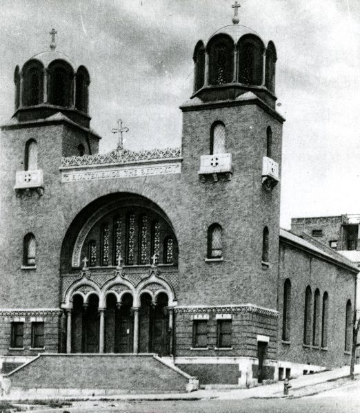 Photograph of the original Greek Orthodox Church of the Annunciation, built over ten years from 1904-1914. The current Annunciation Church hosts Greek Fest annually.