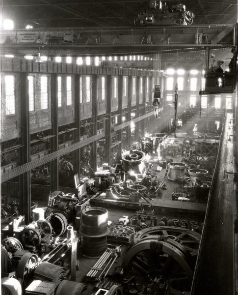 Photograph of an Allis-Chalmers work bay taken in 1930.