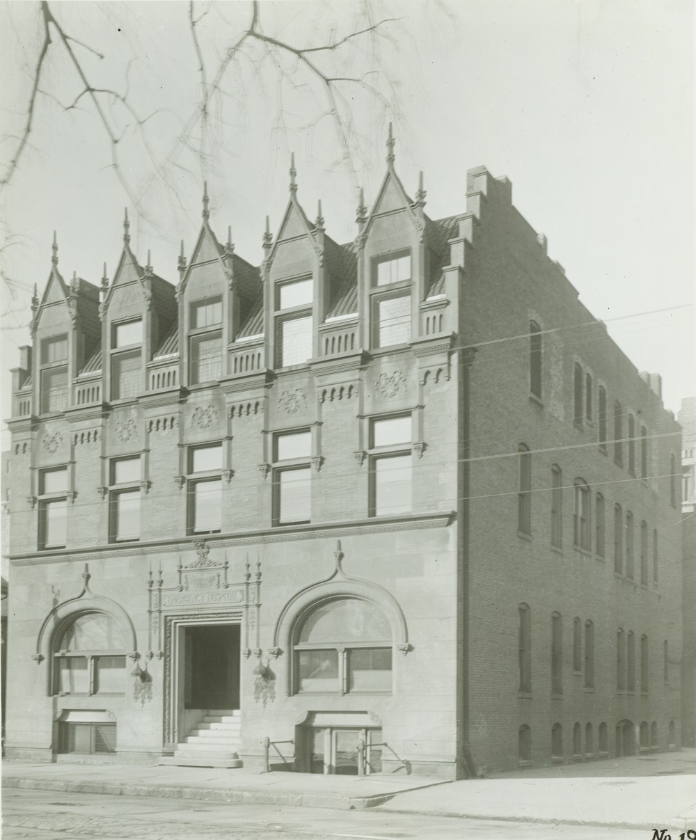 Photograph of the entrance of Johnston Emergency Hospital. This building was used from 1894 until 1931, when the hospital moved to a new location on the south side of Milwaukee.