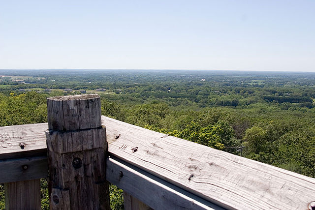 A view of part of the Kettle Moraine State Forest from an observation tower at Lapham Peak in Waukesha County.