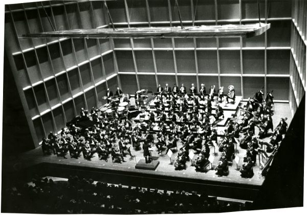 The Milwaukee Symphony Orchestra performs inside Uihlein Hall in September, 1969.