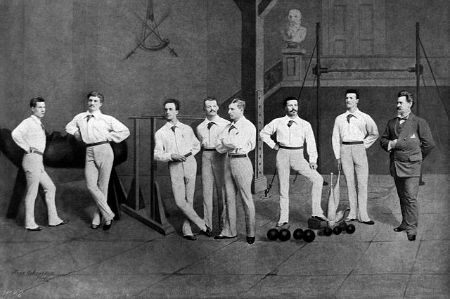 Illustration of the 1880 Milwaukee Turners' team. This group of men competed in Germany's Fifth National Turnfest in Frankfurt and won five medals.