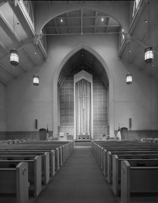 Interior photograph of the Immanuel Presbyterian Church located on North Astor Street.