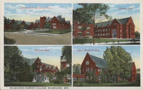 <table class=&quot;lightbox&quot;><tr><td colspan=2 class=&quot;lightbox-title&quot;>Milwaukee-Downer College Buildings</td></tr><tr><td colspan=2 class=&quot;lightbox-caption&quot;>This early twentieth century postcard features the buildings of the Milwaukee-Downer College.</td></tr><tr><td colspan=2 class=&quot;lightbox-spacer&quot;></td></tr><tr class=&quot;lightbox-detail&quot;><td class=&quot;cell-title&quot;>Source: </td><td class=&quot;cell-value&quot;>Greetings from Milwaukee: Selections from the Thomas and Jean Ross Bliffert Postcard Collection, Archives. University of Wisconsin-Milwaukee Libraries. <br /><a href=&quot;http://collections.lib.uwm.edu/digital/collection/gfmmke/id/271/rec/5&quot; target=&quot;_blank&quot;>University of Wisconsin-Milwaukee</a></td></tr><tr class=&quot;filler-row&quot;><td colspan=2>&nbsp;</td></tr></table>