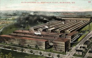 Early twentieth century postcard illustrating an aerial view of the Allis-Chalmers facilities.