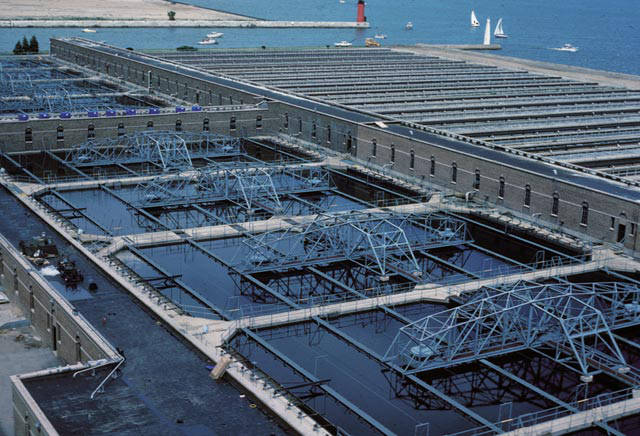 1982 photograph of the Jones Island wastewater treatment plant that originally opened in 1925.