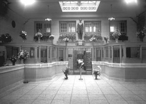 Photograph of the lobby of the Lincoln State Bank upon its grand opening in 1920.