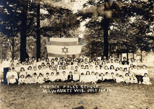 <table class=&quot;lightbox&quot;><tr><td colspan=2 class=&quot;lightbox-title&quot;>Zionist Jewish Folk School</td></tr><tr><td colspan=2 class=&quot;lightbox-caption&quot;>1916 photograph of students of the Zionist Jewish Folk School in Milwaukee. </td></tr><tr><td colspan=2 class=&quot;lightbox-spacer&quot;></td></tr><tr class=&quot;lightbox-detail&quot;><td class=&quot;cell-title&quot;>Source: </td><td class=&quot;cell-value&quot;>From the Picturing Golda Meir Collection. Archives, University of Wisconsin-Milwaukee Libraries.<br /><a href=&quot;http://collections.lib.uwm.edu/digital/collection/pgm/id/158/rec/4&quot; target=&quot;_blank&quot;>University of Wisconsin-Milwaukee Libraries</a></td></tr><tr class=&quot;filler-row&quot;><td colspan=2>&nbsp;</td></tr></table>