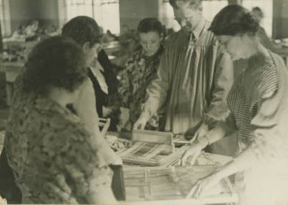 <table class=&quot;lightbox&quot;><tr><td colspan=2 class=&quot;lightbox-title&quot;>Milwaukee Handicraft Project</td></tr><tr><td colspan=2 class=&quot;lightbox-caption&quot;>Individuals learn to weave as part of the Works Progress Administration's Milwaukee Handicraft Project, which provided light manufacturing work for unskilled workers.</td></tr><tr><td colspan=2 class=&quot;lightbox-spacer&quot;></td></tr><tr class=&quot;lightbox-detail&quot;><td class=&quot;cell-title&quot;>Source: </td><td class=&quot;cell-value&quot;>From the Wisconsin Arts Projects of the WPA Collection. Archives, University of Wisconsin-Milwaukee Libraries.<br /><a href=&quot;http://collections.lib.uwm.edu/digital/collection/wpa/id/1707/rec/71&quot; target=&quot;_blank&quot;>University of Wisconsin-Milwaukee Libraries</a></td></tr><tr class=&quot;filler-row&quot;><td colspan=2>&nbsp;</td></tr></table>