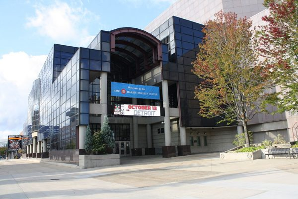 Photograph of the northeast entrance of the BMO Harris Bradley Center in autumn of 2012.