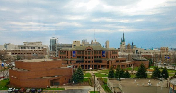 Photograph overlooking the Marquette campus in spring 2007. The Alumni Memorial Union is seen at center.