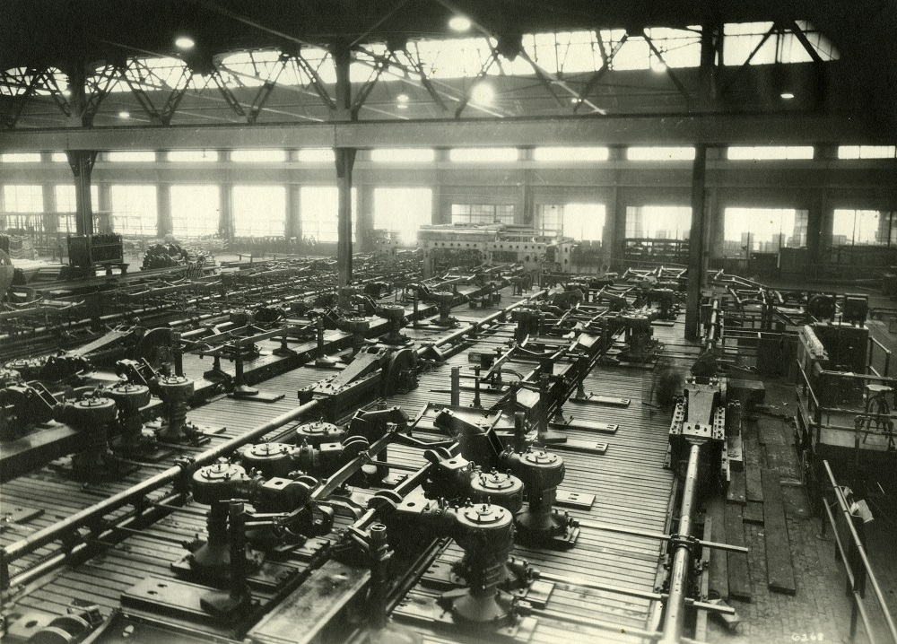 Photograph of the interior of A.O. Smith assembly facilities taken in 1965.