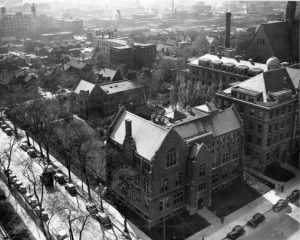 Aerial photograph taken from the corner of 11th Street and Wisconsin Avenue, circa 1940. Sensenbrenner Hall is the central building.