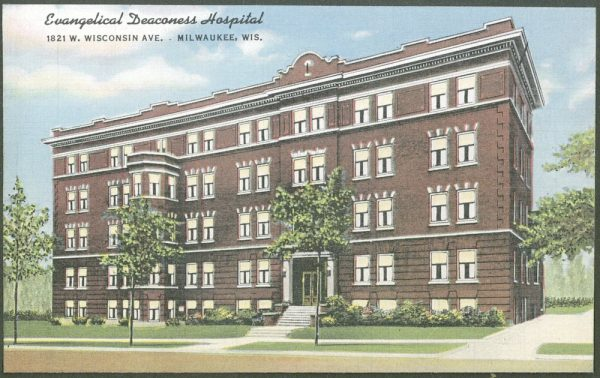 Postcard of the Evangelical Deaconess Hospital located on Wisconsin Avenue from the 1940s.