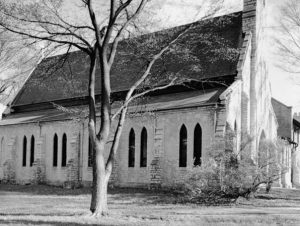 A side view of the Chapel of St. Mary the Virgin, at Nashotah House Theological Seminary, in a 1960 photograph taken by Wisconsin architect Richard W.E. Perrin.