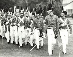 Cadets from St. John's Military Academy in Delafield parade in uniform, taken between 1979 and 1983.