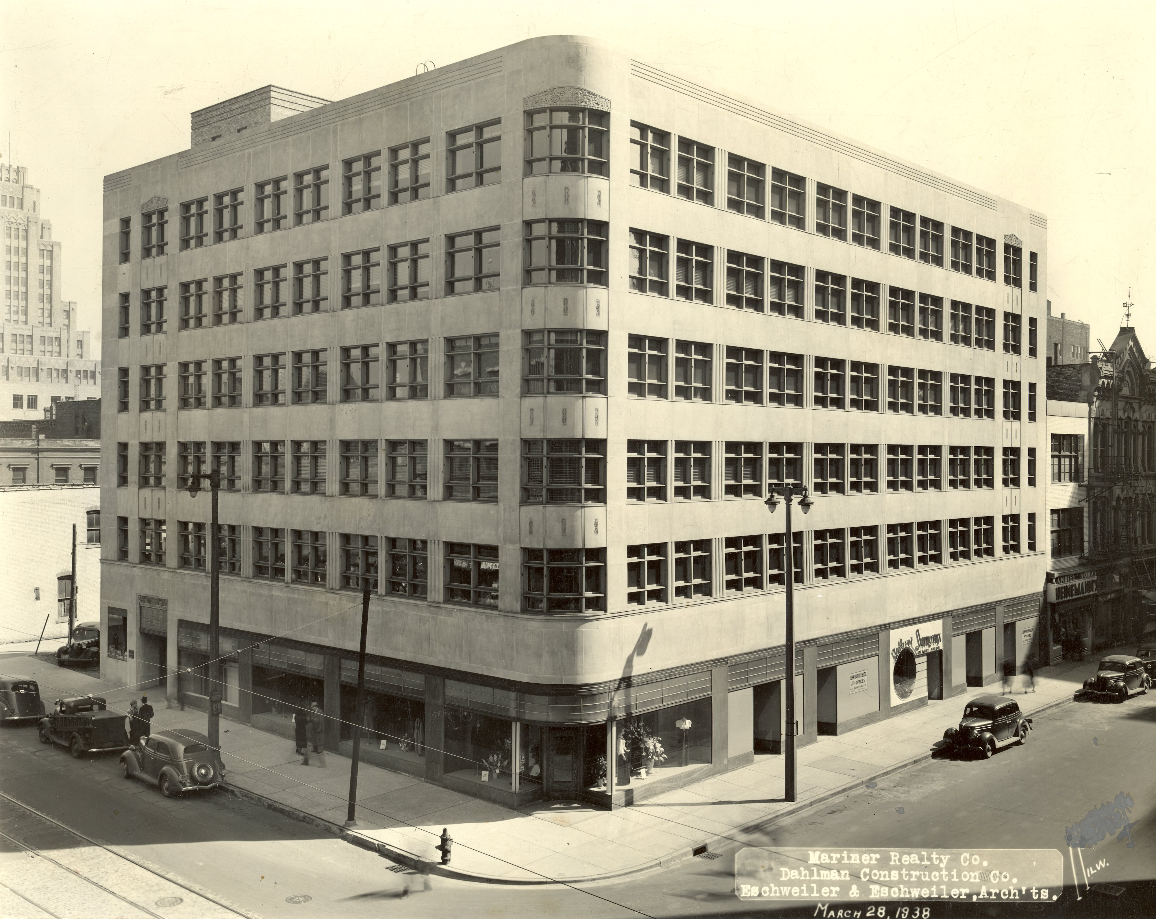 <table class=&quot;lightbox&quot;><tr><td colspan=2 class=&quot;lightbox-title&quot;>John W. Mariner Building</td></tr><tr><td colspan=2 class=&quot;lightbox-caption&quot;>A 1938 photograph of the recently-opened John W. Mariner Building designed by Eschweiler and Eschweiler in a rare example of the Streamline Moderne style.</td></tr><tr><td colspan=2 class=&quot;lightbox-spacer&quot;></td></tr><tr class=&quot;lightbox-detail&quot;><td class=&quot;cell-title&quot;>Source: </td><td class=&quot;cell-value&quot;>From the Historic Photo Collection of the Milwaukee Public Library. Reprinted with permission. <br /><a href=&quot;http://content.mpl.org/cdm/singleitem/collection/HstoricPho/id/1292/rec/1 &quot; target=&quot;_blank&quot;>Milwaukee Public Library</a></td></tr><tr class=&quot;filler-row&quot;><td colspan=2>&nbsp;</td></tr></table>